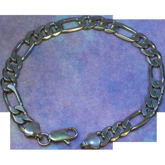 24K White Gold Plate Marked Large Figaro Link Bracelet
