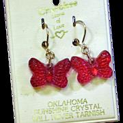 Cherokee Stone of Love Carved Crystal Butterfly Pierced Earrings