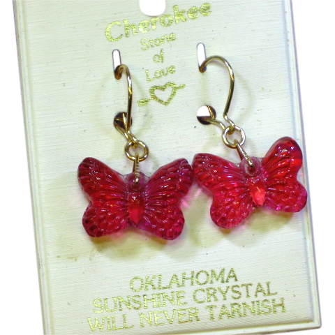 Cherokee Stone of Love Carved Crystal Butterfly Pierced Earrings