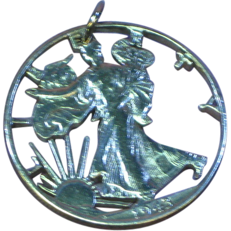 1943 U.S. Walking Liberty Half Dollar, Hand Pierced Charm or Necklace Pendant
