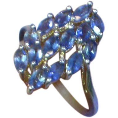 Vintage Sterling Silver Tanzanite Fancy Cluster Bold Ring, Size 7