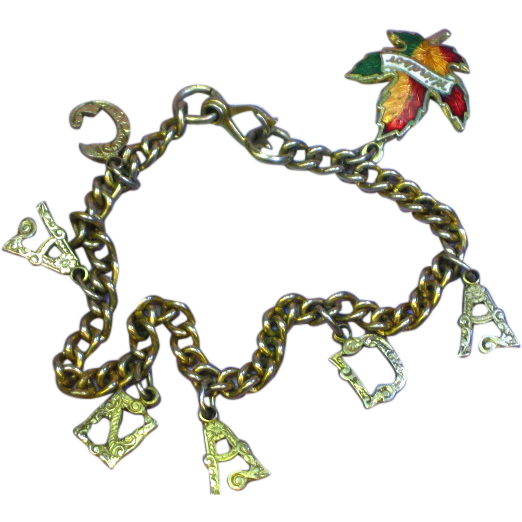 Canada Charm Bracelet Gold Tone with Enamel Charm Maple Leaf