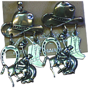 Sterling Silver Cowboy Horseshoe Boot Bucking Horse Western Charm Dangle Pierced Earrings