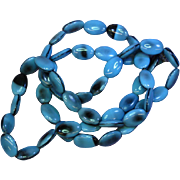 "Art Glass Blue and Black Beads 29"" Necklace"