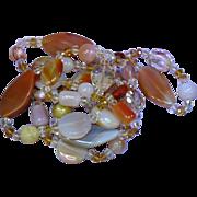 "Massive Faceted Crystals Druzy Quartz Agate 58"" Long Necklace"