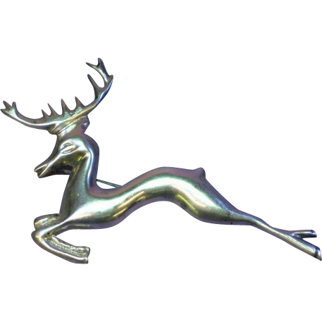 Deer Figural Leaping Heavy Cast Solid Sterling Silver Pin Brooch