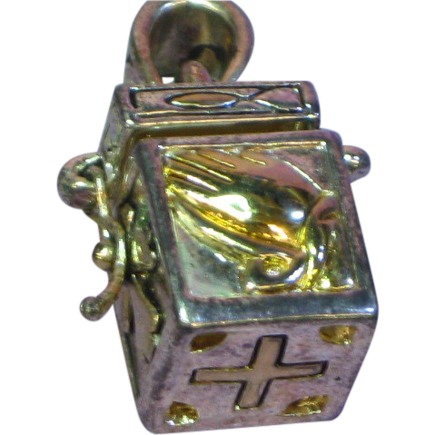 Rare Gold Accents Prayer Box Charm Sterling Silver Necklace Pendant