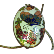 Cloisonne Floral Butterfly Puffy Two Sided Necklace Pendant