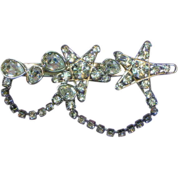 Swarovski Signed Pave' and Prong Set Rhinestones Hair Clip/Slide