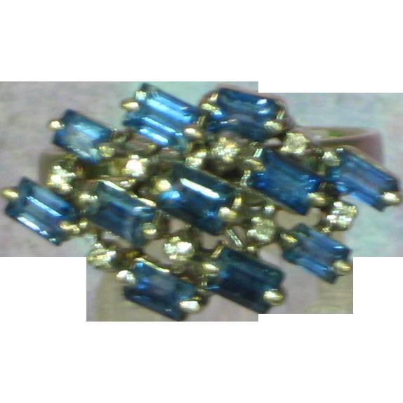 Ladies Cluster Cocktail 18K White Gold Sapphire Diamond Ring
