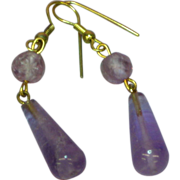 Vintage 14K Gold Plate Faceted Amethyst Carved Drop Dangle Pierced Earrings