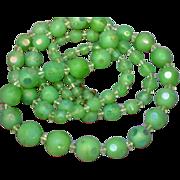 "Art Deco Green Glass Cut Bead Crystal Sautoir Flapper 32"" Necklace Handmade"