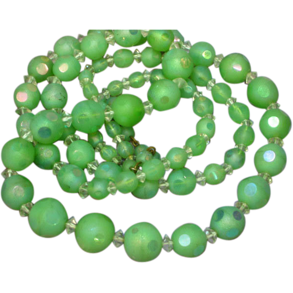 "Art Deco Green Glass Cut Bead Crystal Sautoir Flapper 32"" Necklace Handmade"