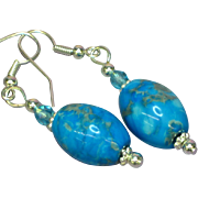 Gemstones Chrysocolla Drop Dangle Pierced Earrings
