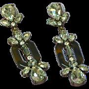 Sparkling Brilliant Clear Rhinestones w/ Faux Tortoise Shell Extra Long Large Dangle Pierced Earrings