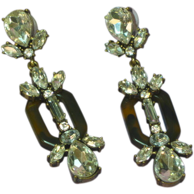Sparkling Brilliant Clear Rhinestones w/ Faux Tortoise Shell Extra Long Large Dangle Pierced Earrings