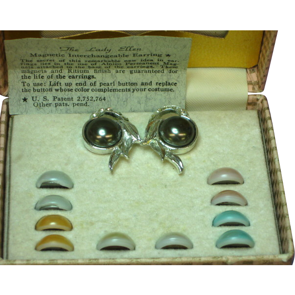 Lady Ellen Magnetic Interchangeable Pearl Rhinestones Clip Earrings Set MIB