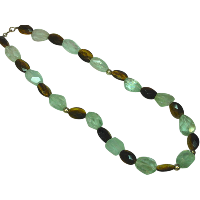 "Gemstones  Tiger Eye & Rough Cut Gem Prehnite Sterling Silver 16"" NOS Necklace"