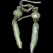 Pearls Freshwater Lustrous Biwa Stick Sterling Silver Long Drop Dangle Pierced Earrings