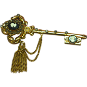 Coro Pegasus Marked Rhinestones Cameo Tassel Key Pin  Brooch