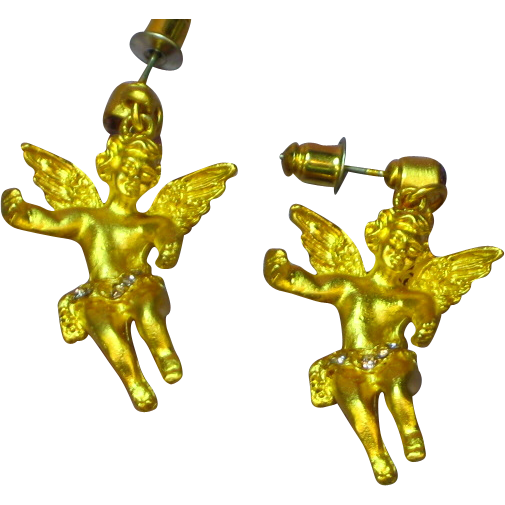 Rhinestones Gold-tone Chubby Winged Cherub Angel Dangle Pierced Earrings