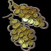 50% OFF SALE Large Long Articulated Dangle Jangle Gypsy Filigree Dangle G.F. Wire Pierced Earrings