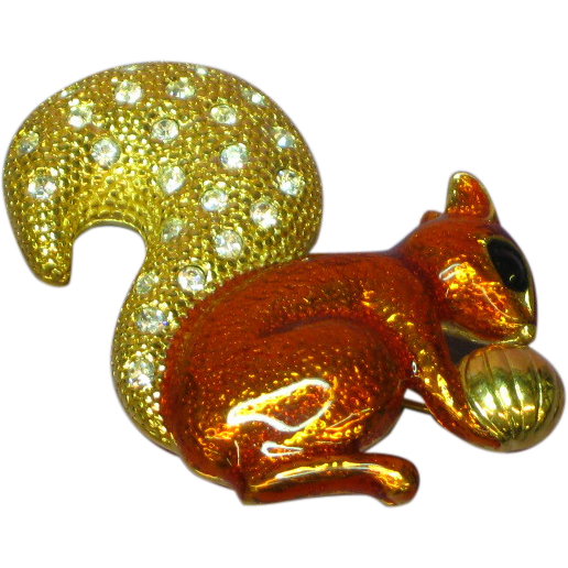 Roman Enamel  Pave Rhinestones Squirrel w/ Nut Pin Brooch