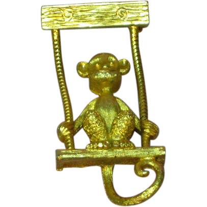 Articulated Monkey in a Swing Goldtone  Pin Brooch