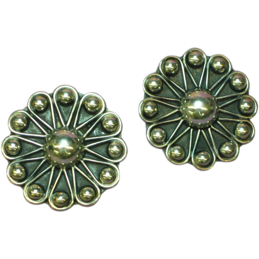 Taxco Dulce .925 Mexico Sterling Silver Large Round Pierced Earrings