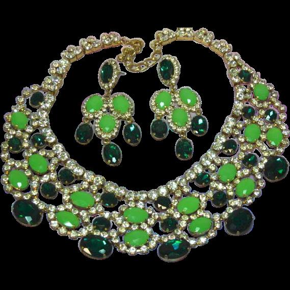 Massive Emerald Green Mint Green Rhinestone Crystal Runway Statement Bib Necklace Pierced Earrings Set Demi Parure