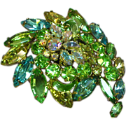 Juliana Rhinestones Domed 3-D Blue Green Yellow Brooch Pin
