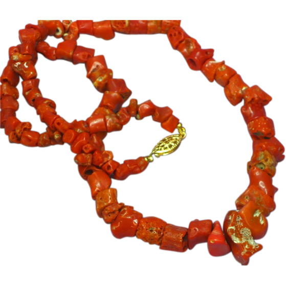 "Coral Single Strand Museum Quality Coral with Ornate Clasp 18"" Necklace"