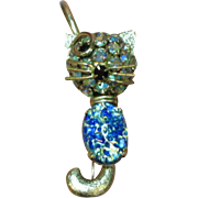 Warner Art Glass Cabochon Winking Cat A/B Rhinestone Large Crystal Pin Brooch