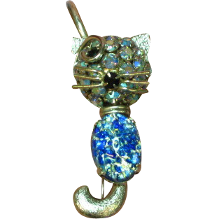 Warner Art Glass Cabochon Winking Cat A/B Rhinestone Large Crystal Pin Brooch