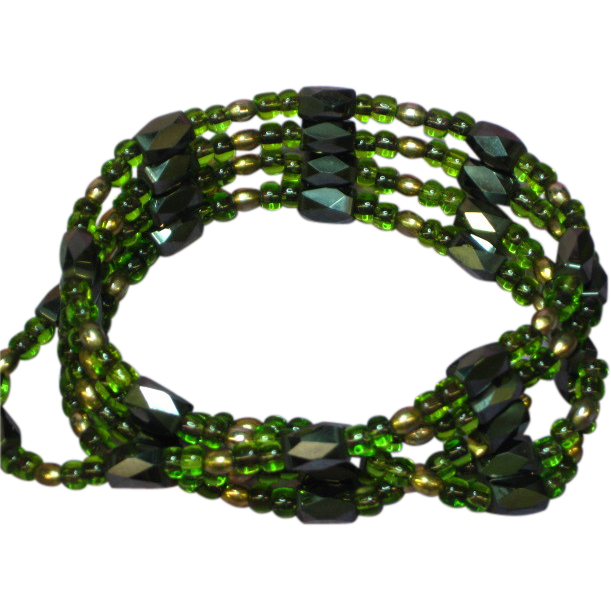 Hematite Magnetized Black and Green Wrap Bracelet Necklace