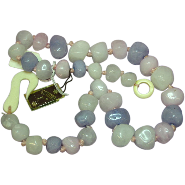 Chunky Large Rock Crystal Pastel Quartz Necklace