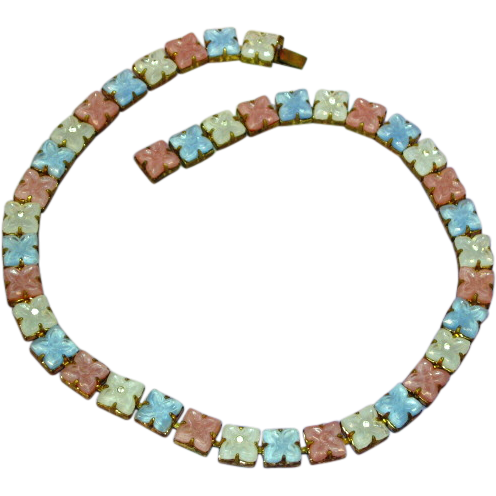 Czech Art Deco  Molded Pastel Glass Flowers Rhinestones Brass Necklace