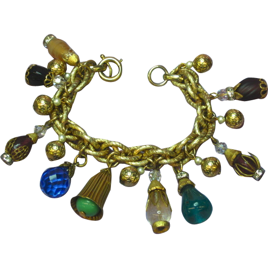 Napier Signed Gold tone Large Art Glass Dangle Charm Bracelet