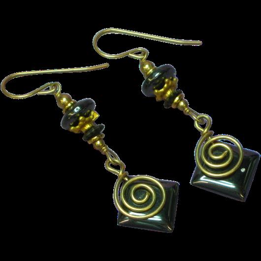 Gemstone Goldtone Hematite Dangle Pierced Long Earrings