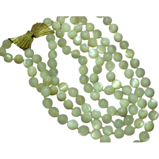 Mother of Pearl Magnificent Vintage MOP Hand Carved Highly Iridescent Double Strand  Necklace