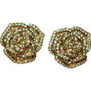 Rhinestones Pave Rose Gold-tone Plated Flower Floral Figural Rose Clip Earrings