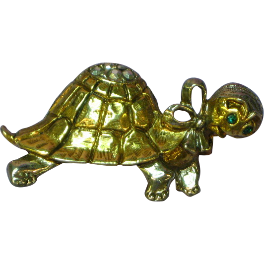 Art Signed Rare Turtle Antiqued Brushed Gold-tone Rhinestones Eyes Figural Pin Brooch