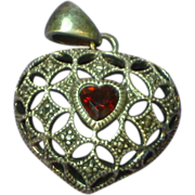 Vintage  Heart Shaped Heart Garnet Sterling Silver Pendant