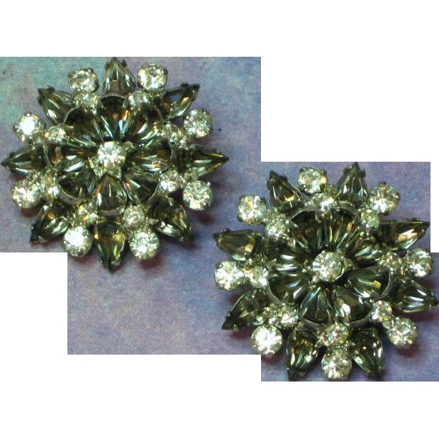 Rhinestones 'Black Diamonds' Multi Layer Rhodium Plated Clip Earrings