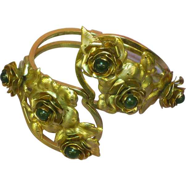Large Gold-tone Floral Clamper w/ Roses Jade Beads Bracelet