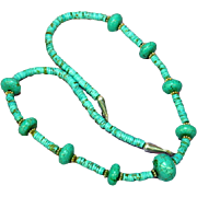 Native American Indian Natural Hand Rolled with Sterling Findings Turquoise Nugget Necklace