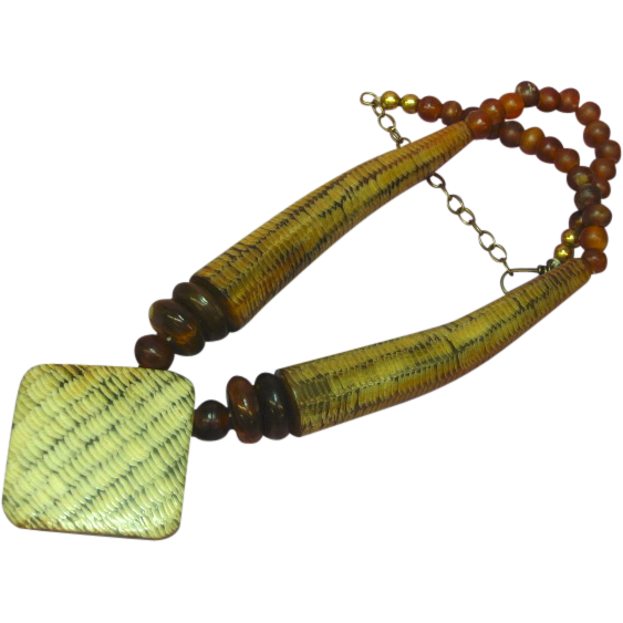 "Carved Horn Red and Brown Brass African Trade Beads 20"" Necklace"