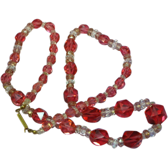 Luscious Cranberry Swarovski and German Crystal Single Strand Necklace