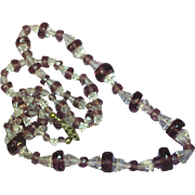 "Faceted Amethyst Crystal & Faceted Clear Crystal 24"" Necklace"