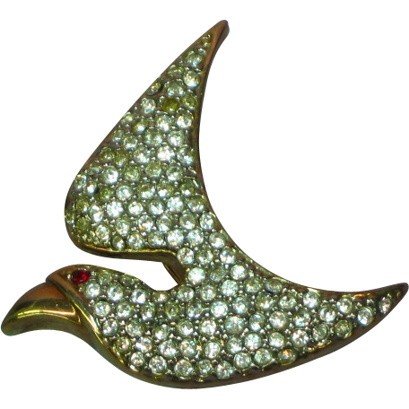 Pave' Rhinestone Dove Bird in Flight Figural Pin Brooch